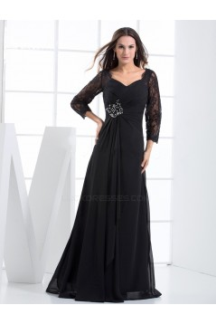 A-Line 3/4 Sleeve Beaded Lace and Chiffon Mother of the Bride Dresses M010080