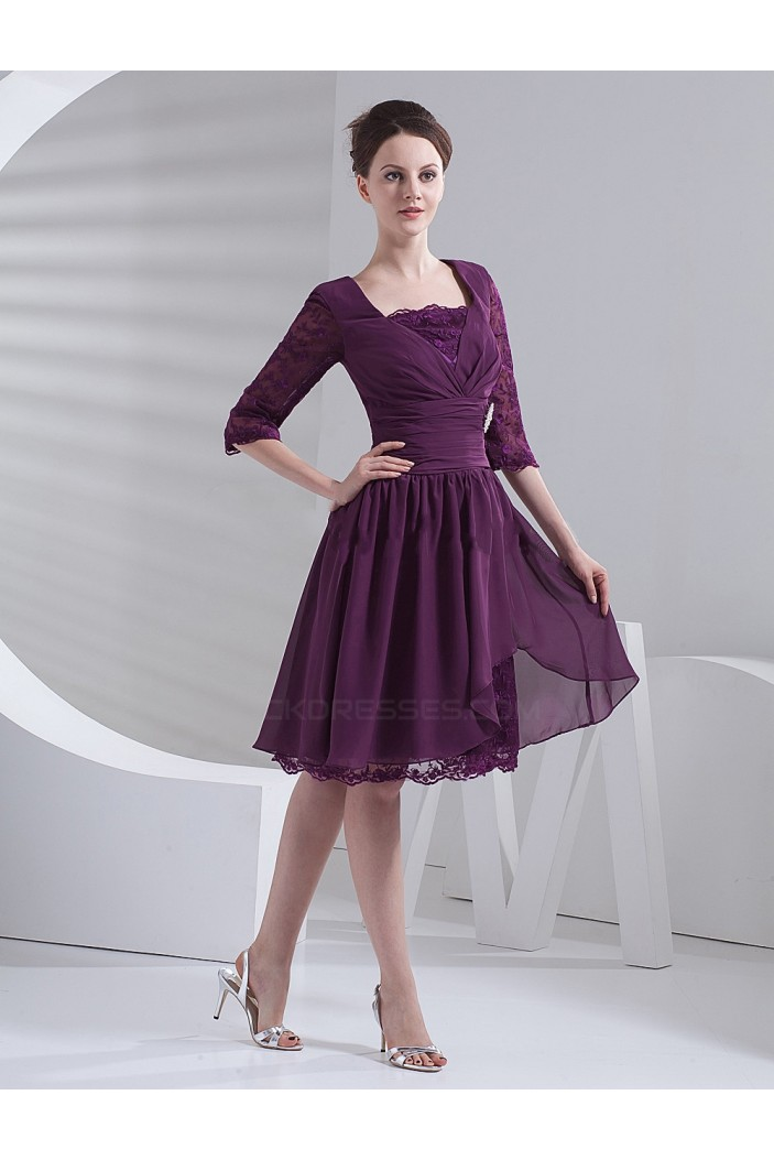 A-Line Half Sleeve Short Mother of the Bride Dresses M010082
