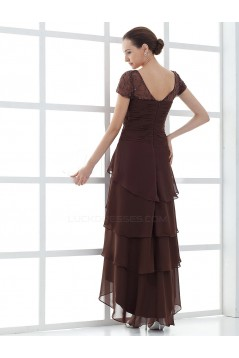A-Line Short Sleeve Chiffon Mother of the Bride Dresses M010083