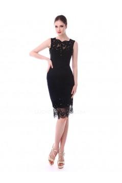 Short Sheath Beaded Applique Black Mother of the Bride Dresses M010084