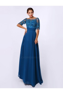 A-Line Bateau Short Sleeve Long Blue Chiffon Mother of the Bride Dresses M010085