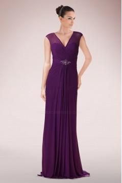 Sheath V-Neck Long Chiffon Mother of the Bride Dresses M010089