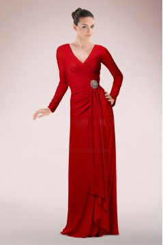 Sheath V-Neck Long Sleeve Red Mother of the Bride Dresses M010091