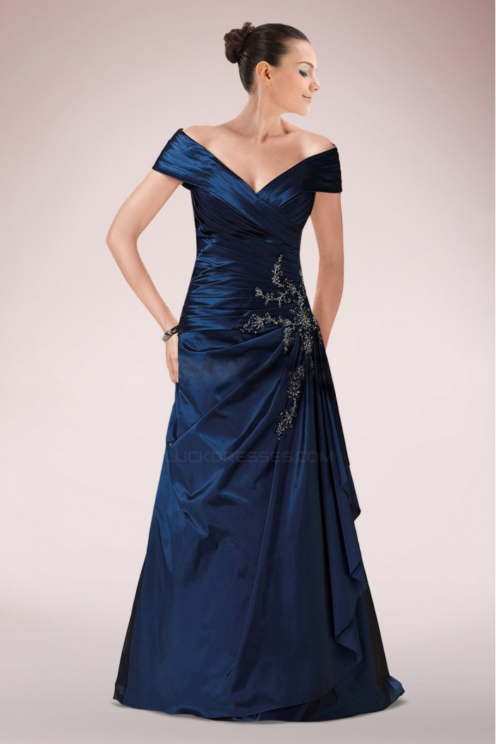 A-Line Off-the-Shoulder Beaded Applique Long Mother of the Bride Dresses M010092