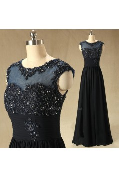 A-Line Beaded Applique Long Chiffon Mother of the Bride Dresses M010097
