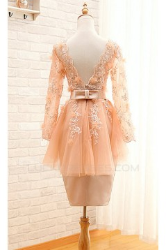 Short V-Neck Long Sleeve Mother of the Bride Dresses M010098