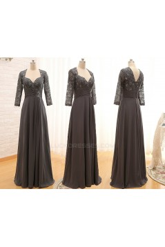 A-Line 3/4 Sleeve Lace and Chiffon Long Mother of the Bride Dresses M010099