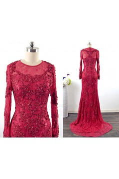Trumpet/Mermaid Long Sleeve Beaded Applique Lace Long Mother of the Bride Dresses M010103