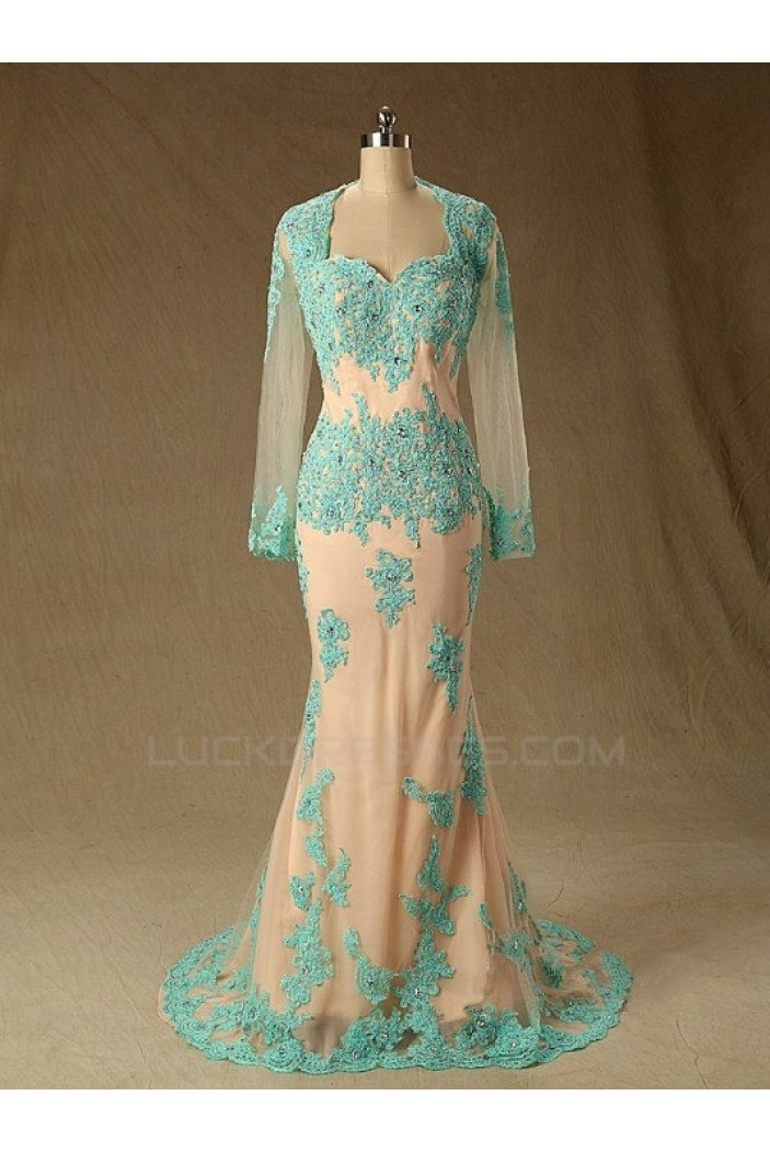 Trumpet/Mermaid Long Sleeve Beaded Applique Long Mother of the Bride Dresses M010104