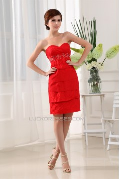 Short/Mini Taffeta Beading Sweetheart 3/4 Sleeve Mother of the Bride Dresses with A Jacket 2040003