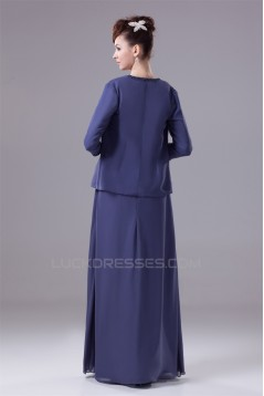 A-Line Square Floor-Length 3/4 Sleeve Beading Mother of the Bride Dresses with A Jacket 2040004
