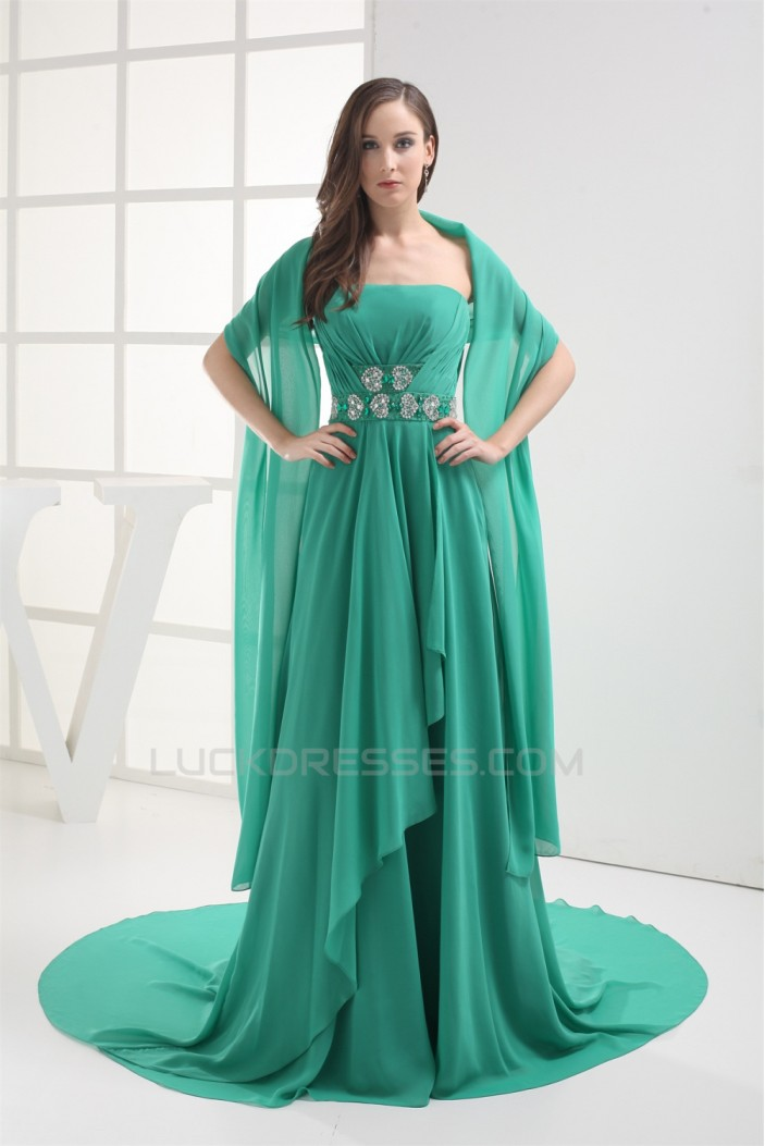 A-Line Strapless Sleeveless Court Train Beaded Chiffon Mother of the Bride Dresses with A Wrap 2040005