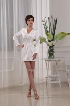 Beading Elastic Woven Satin Sheath/Column Long Sleeve Mother of the Bride Dresses 2040008