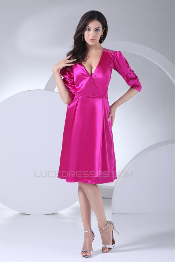Beading Knee-Length Silk like Satin Sheath/Column Mother of the Bride Dresses 2040012