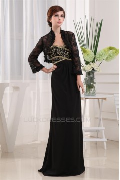 Beading Long Sleeves Floor-Length Sheath/Column Mother of the Bride Dresses with A Jacket 2040013