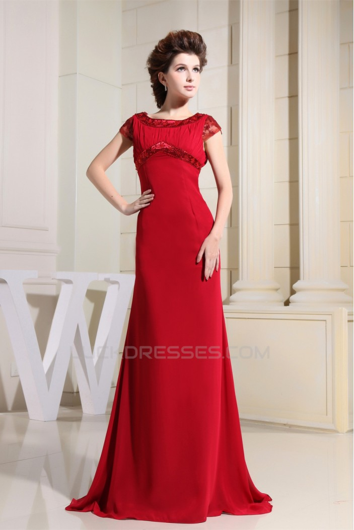 Beading Scoop Chiffon Silk like Satin Floor-Length Long Red Mother of the Bride Dresses 2040016