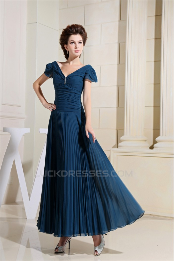 Beading Short Ankle-Length V-Neck Chiffon Silk like Satin Mother of the Bride Dresses 2040017