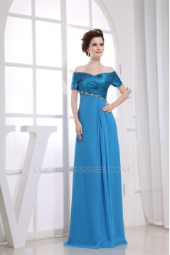 Beading Short Sleeve Chiffon Silk like Satin A-Line Mother of the Bride Dresses 2040018