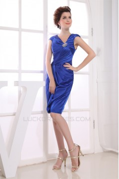 Beading Silk like Satin Sheath/Column V-Neck Mother of the Bride Dresses 2040019