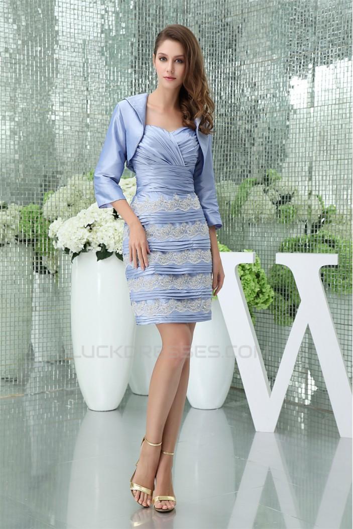 Beading Taffeta Sleeveless Sheath/Column Best Mother of the Bride Dresses with A 3/4 Sleeve Jacket 2040020