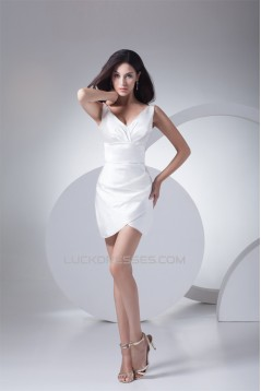 Bows Short/Mini V-Neck Silk like Satin Mother of the Bride Dresses 2040021
