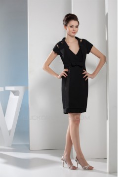 Bows V-Neck Short/Mini Short Sheath/Column Mother of the Bride Dresses 2040022