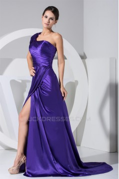 A-Line One-Shoulder Ruffles Brush Sweep Train Mother of the Bride Dresses 2040023