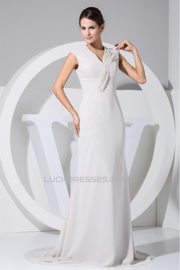 Chiffon Elastic Silk like Satin A-Line Puddle Train Mother of the Bride Dresses 2040026
