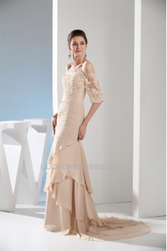 Trumpet/Mermaid Half Sleeve Chiffon Lace Applique Mother of the Bride Evening Dresses 2040027
