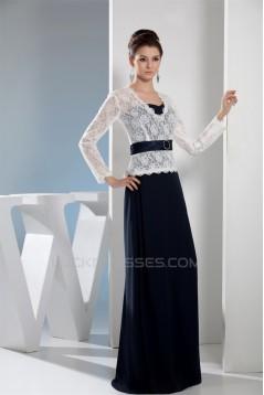 Chiffon Lace Silk like Satin Long Sleeve Sheath/Column Mother of the Bride Dresses 2040028