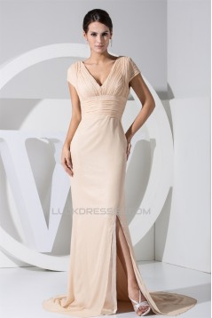 Chiffon Silk like Satin Puddle Train Short Sleeve V-Neck Mother of the Bride Dresses 2040031