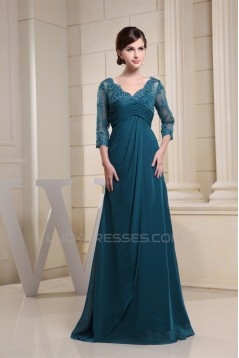 A-Line Chiffon V-Neck 3/4 Sleeve Sequins Appliques Brush Sweep Train Mother of the Bride Dresses 2040032