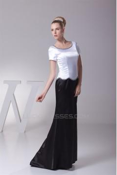 Floor-Length Sheath/Column Short Sleeve Black White Mother of the Bride Dresses 2040037