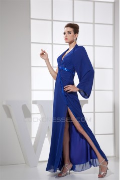 Sheath/Column Halter Floor-Length Chiffon Long Blue Mother of the Bride Dresses 2040038