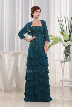 Elegant Floor-Length Soft Sweetheart Beading Mother of the Bride Dresses with A 3/4 Sleeve Jacket 2040040