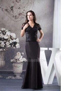 Trumpet/Mermaid Floor-Length V-Neck Ruffles Short Sleeve Appliques Mother of the Bride Dresses 2040042