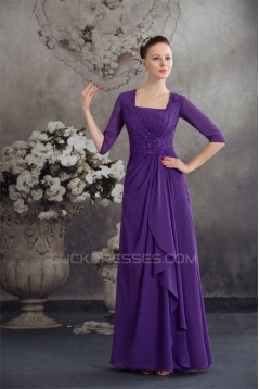 Elegant Half Elbow Length Floor-Length Square Chiffon Long Mother of the Bride Dresses 2040044