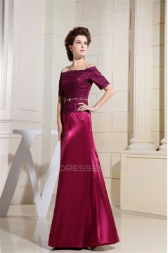 A-Line Half Elbow Length Off-the-Shoulder Mother of the Bride Dresses 2040045