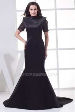 High-Neck Satin Organza Ruched Brush Sweep Train Backless Mother of the Bride Dresses 2040047