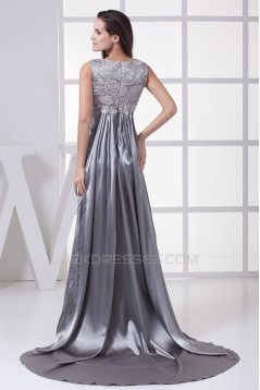 Elegant Lace Silk like Satin Long Silver Mother of the Bride Dresses 2040048