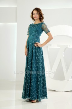 Lace Silk like Satin Ruffles Short Sleeve Mother of the Bride Dresses 2040050