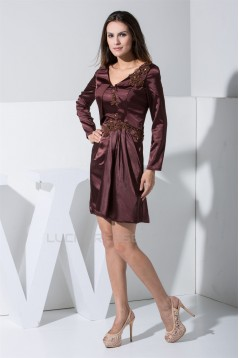 Long Sleeves Elastic Woven Satin Short/Mini Mother of the Bride Dresses 2040051