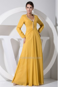 A-Line Long Sleeves V-Neck Floor-Length Beading Mother of the Bride Dresses 2040053