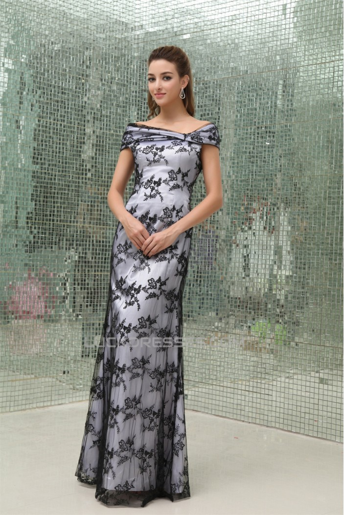 Off-the-Shoulder Sleeveless Lace Silk like Satin Mother of the Bride Dresses 2040056
