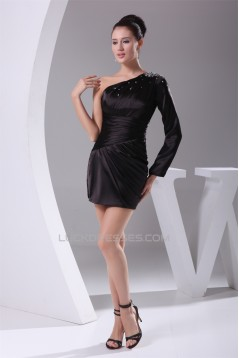 One-Shoulder Long Sleeves Elastic Woven Satin Mother of the Bride Dresses 2040058