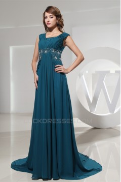 A-Line Puddle Train Capped Sleeves Chiffon Beaded Long Mother of the Bride Dresses 2040060
