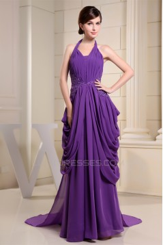 Sheath/Column Halter Puddle Train Chiffon Sleeveless Mother of the Bride Dresses 2040061