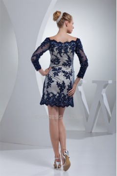 Short/Mini Satin Lace Beading Applique 3/4 Sleeve Mother of the Bride Dresses 2040066