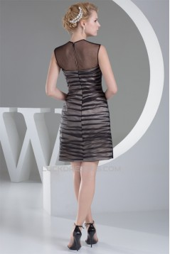 Sheath/Column Scoop Satin Organza Fine Netting Mother of the Bride Dresses 2040068