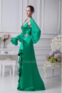 Sheath/Column Chiffon Silk like Satin V-Neck Mother of the Bride Dresses 2040072